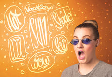 Cool teenager with summer sun glasses and vacation typography Stock Photo