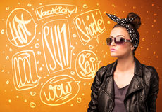 Cool teenager with summer sun glasses and vacation typography Stock Photos