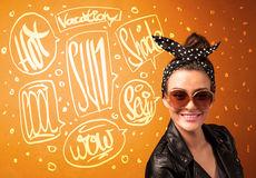 Cool teenager with summer sun glasses and vacation typography Royalty Free Stock Photos