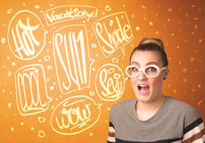 Cool teenager with summer sun glasses and vacation typography Stock Photography