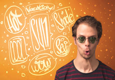 Cool teenager with summer sun glasses and vacation typography Royalty Free Stock Photography