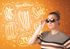 Cool teenager with summer sun glasses and vacation typography Royalty Free Stock Images