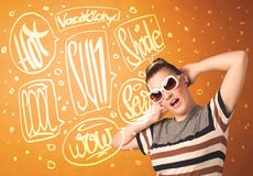 Cool teenager with summer sun glasses and vacation typography Stock Images
