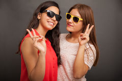 Cool teens and peace signs Stock Images