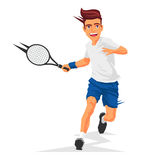 Cool tennis player with a racket Stock Photography
