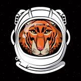 Cool tiger on astronaut helmet print for t shirt Stock Illustration