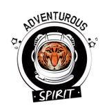 Cool tiger on astronaut helmet print for t shirt Vector Illustration