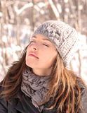 Cool time. Woman taking a break outdoor during winter Stock Images