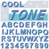 Cool tone font. English alphabet and number in cool tone colour Royalty Free Stock Photography