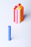 Cool tone isolated from warm tone colorful chalk pastels Royalty Free Stock Photos