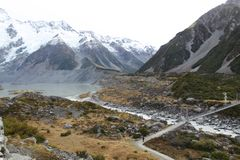 Cool trail at Mt cook stock images