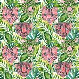 Cool trendy african animals seamless pattern. Watercolor animal print pattern with cute leopard, cheetah, jaguar muzzles in jungle