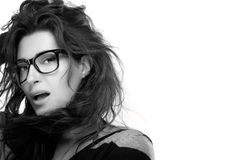 Cool Trendy Eyewear. Beauty Fashion Model Girl With Eyeglasses Stock Photos