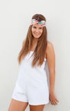 Cool trendy girl with a flowered hair scarf Stock Photo