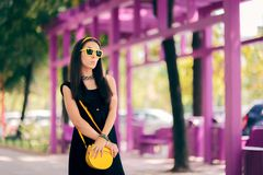 Summer Fashion Urban Woman with Matching Yellow Accessories stock photography