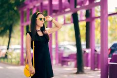 Summer Fashion Urban Woman with Matching Yellow Accessories stock photos