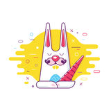 Cool trendy styled colorful illustration bunny Royalty Free Stock Photos