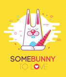 Cool trendy styled colorful illustration with bunny Stock Photography