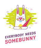 Cool trendy styled colorful illustration with the cute lovely bunny Stock Images