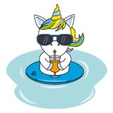 Cool unicorn with sunglasses and drinking a juice. On the beach Royalty Free Illustration