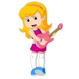 Cool vaggar stjärnaflickan som spelar gitarren royaltyfri illustrationer