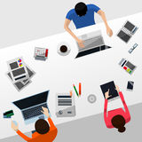 Cool Vector Advanced Gradient Grey Desktop with a Team Working on Their Computers and a Tablet; Paperwork, Smartphone, Calendar Stock Images