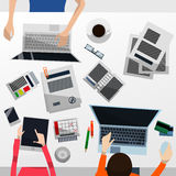 Cool Vector Advanced Gradient Grey Desktop with a Team Working on Their Computers and a Tablet; Paperwork, Smartphone, Calendar Royalty Free Stock Photo