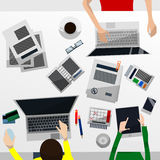 Cool Vector Advanced Gradient Grey Desktop with a Team Working on Their Computers, a Tablet, Paperwork, Smartphone, Coffee Break Royalty Free Stock Image