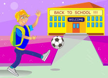 The cool Vector back to school with school building. And schoolchildren. Vector consists of 2 layers: schoolboy, school building vector illustration
