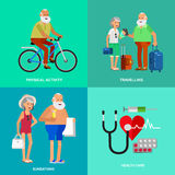 Cool vector flat character design on senior Stock Photography