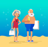 Cool vector flat character design on senior Royalty Free Stock Photos