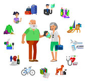 Cool vector flat character design on senior Royalty Free Stock Photography