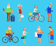 Cool vector flat character design on senior Royalty Free Stock Images