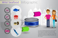 Cool vector flat design fishing boat with crew. Cool vector flat design fishing infocraphic. Seafood and commercial fishing vessel creative illustration Stock Image
