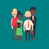 Cool vector flat illustration on business meeting. Group of company strategy conference characters sitting. And standing behind large desk. Diverse business Royalty Free Stock Photo