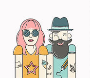 Cool vector hipster couple Stock Photography