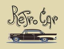 Cool vector modern black retro car. Vintage old flat design.Travel by car Stock Images
