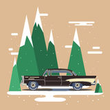 Cool vector modern black retro car. Vintage old flat design.Travel by car on background Stock Photography