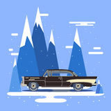 Cool vector modern black retro car. Vintage old flat design.Travel by car on background Royalty Free Stock Image