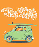 Cool vector modern retro car. With suitcases luggage. Tourism flat design.Travel by car on background Royalty Free Stock Photo