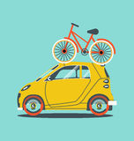 Cool vector modern retro car. With suitcases luggage. Tourism flat design.Travel by car on background Stock Photos
