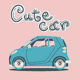 Cool vector modern retro car. With suitcases luggage. Tourism flat design.Travel by car on background Stock Image