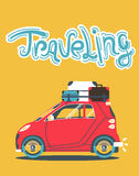 Cool vector modern retro red car with suitcases luggage on roof rack. Tourism flat design.Travel by car on yellow background. Road trip vacation Stock Photo