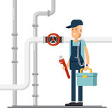 Cool vector plumber male character standing holding tool Stock Images