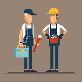 Cool vector plumber male character standing holding tool Royalty Free Stock Images