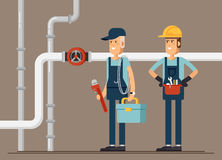 Cool vector plumber male character standing holding tool. Couple plumber workers, male character standing holding tool box and plumber wrench. Friendly smiling Stock Photos