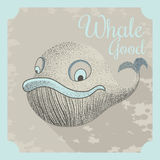 Cool vector poster with a whale Royalty Free Stock Photography