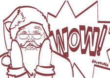 Cool vector Santa Claus in pop art style for any design. Eps 10 isolated.  Royalty Free Stock Photography