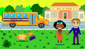 He cool Vector school building. The cool Vector school building with school bus and schoolchildren. Vector consists of 3 layers: school, school bus and children stock illustration