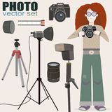 Cool vector set of photo equipment and a bonus - red-haired girl photographer. Nice vector collection of photo equipment camera, film 35mm, flash, lightning Royalty Free Stock Images